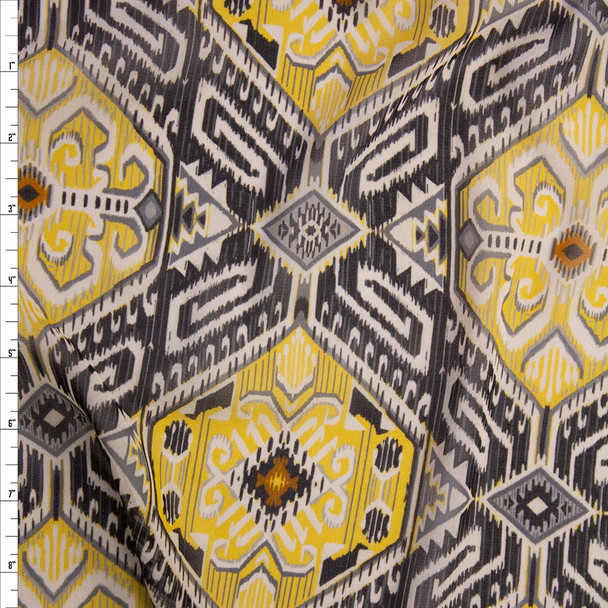 Yellow and Grey Aztec Floral Chiffon Fabric By The Yard