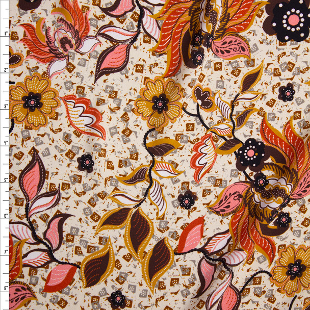 Red, Coral, and Brown Retro Floral on Ivory Challis Fabric By The Yard
