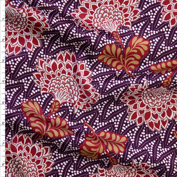 Plum, Wine, and Tan Ornamental Floral Charmeuse Satin Fabric By The Yard