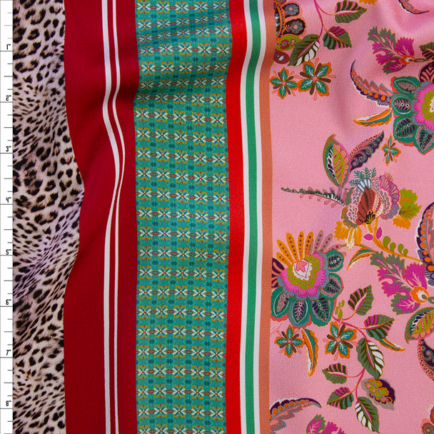 Pink, Ivory, Red, and Green Floral on Cheetah Panel Print Georgette Fabric By The Yard