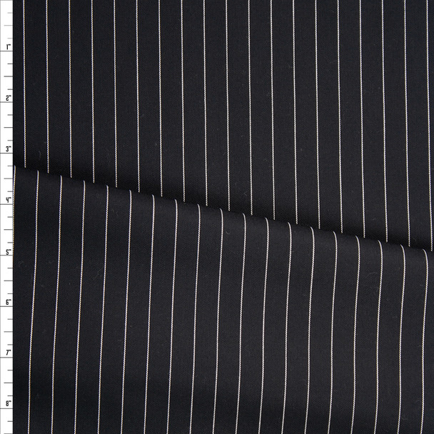 White on Black Vertical Pinstripe Poly/Cotton Twill Fabric By The Yard