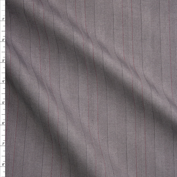 Grey Herringbone with Red Pinstripes Cotton Bottomweight Fabric By The Yard