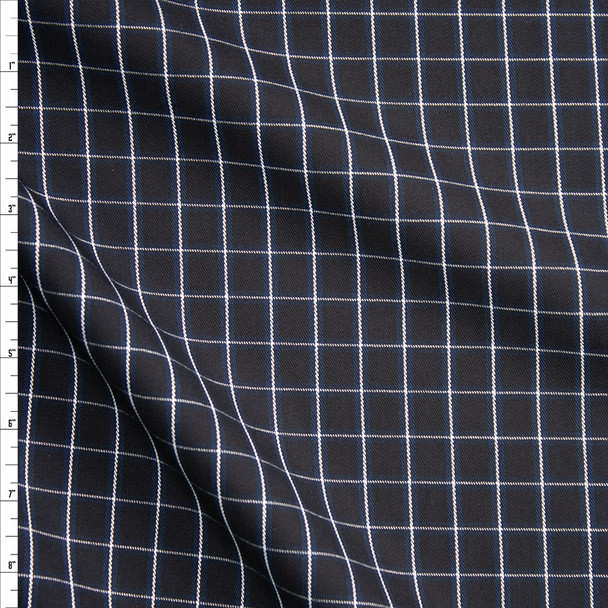 Black, White, and Navy Windowpane Plaid Cotton Twill Fabric By The Yard