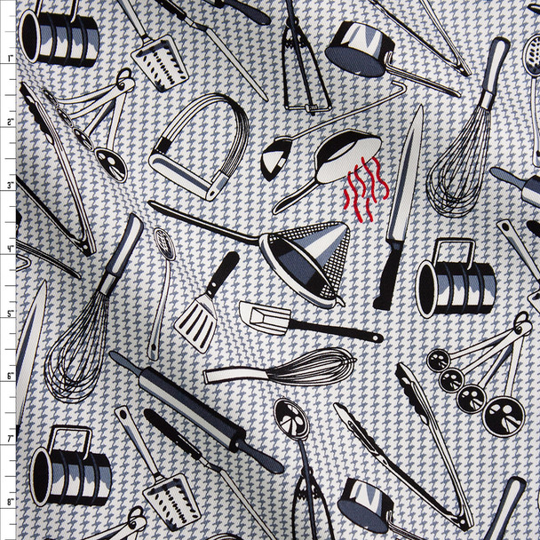 Kitchen Utensils on Grey and White Houndstooth Designer Cotton Twill Fabric By The Yard