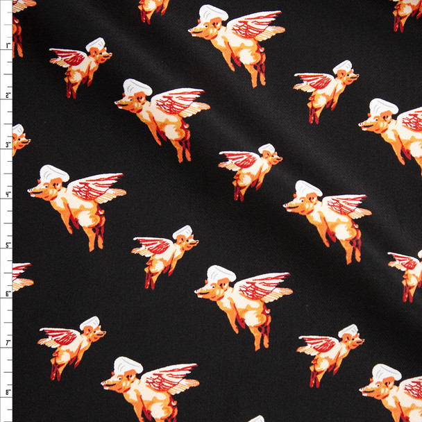 Flying Pig Chefs on Black Designer Cotton Twill Fabric By The Yard