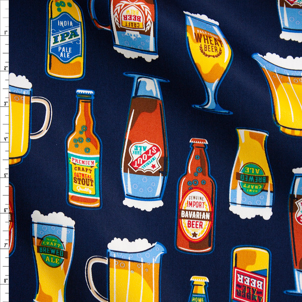 Craft Beer on Blue Designer Cotton Twill Fabric By The Yard