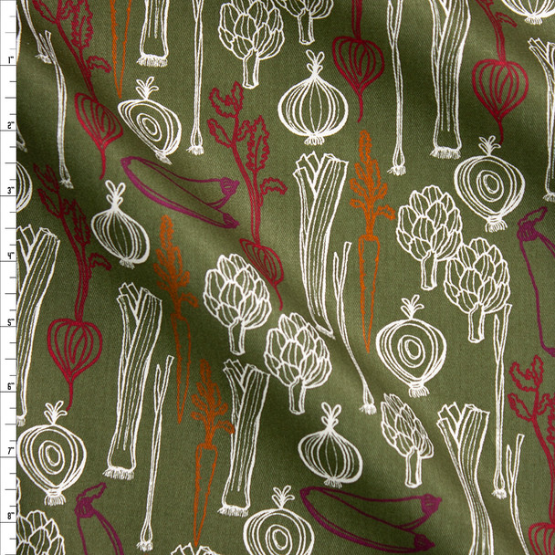 Sketchbook Fruits and Veggies on Olive Designer Cotton Twill Fabric By The Yard