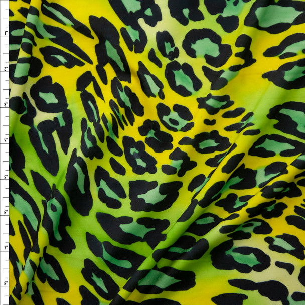 Lime and Yellow Leopard Midweight Nylon/Spandex Fabric By The Yard