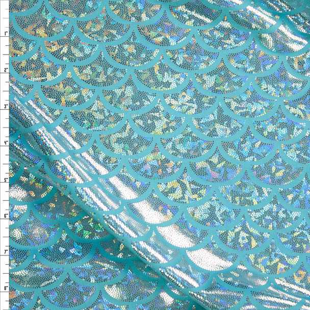 Silver Holographic Scales on Aqua Midweight Nylon/Spandex Fabric By The Yard
