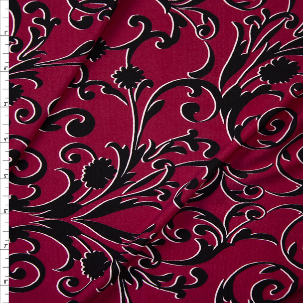 Black Scrollwork on Wine Lightweight Poly/Spandex Knit Fabric By The Yard