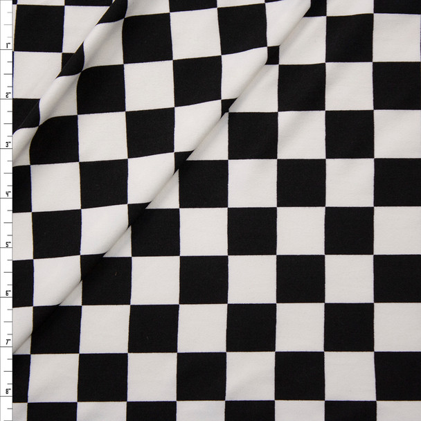 Black and White Checkers Double Brushed Poly Knit Fabric By The Yard