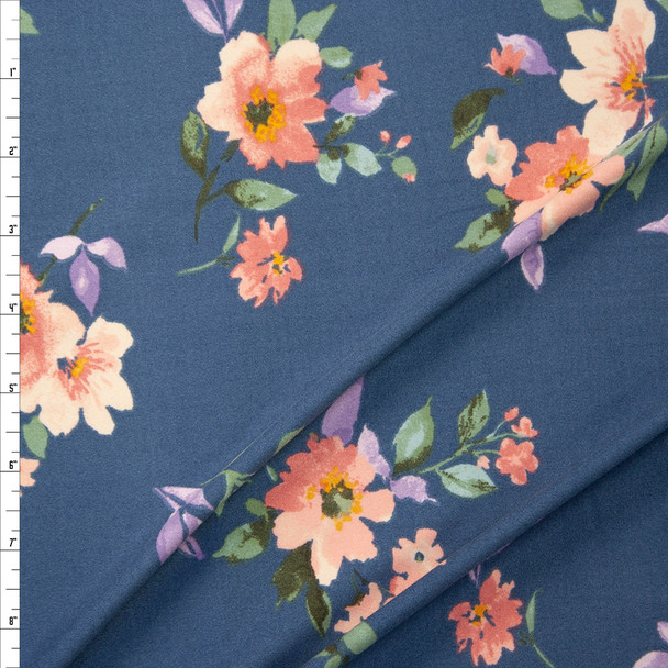 Peach, Sage, and Lavender Floral on Slate Double Brushed Poly Knit Fabric By The Yard