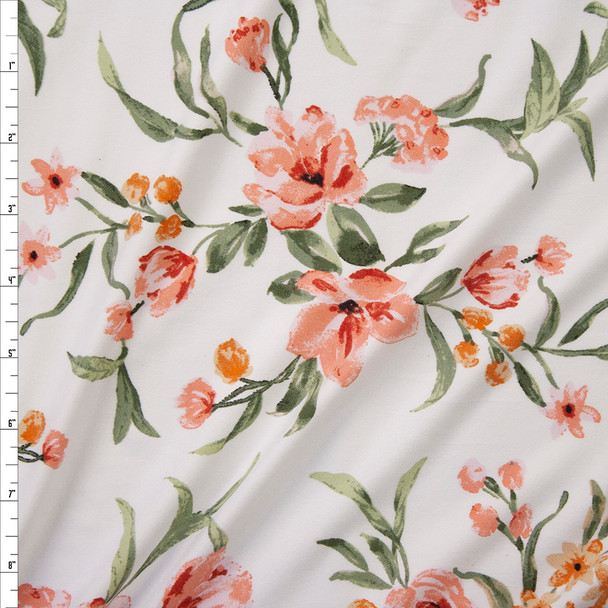 Peach and Coral Brushstroke Floral on Offwhite Double Brushed Poly Knit Fabric By The Yard