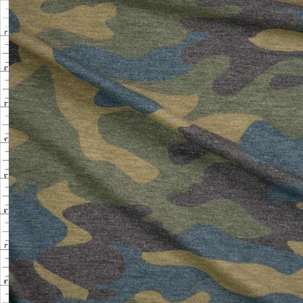 Olive, Charcoal, and Teal Camouflage Rayon French Terry Fabric By The Yard