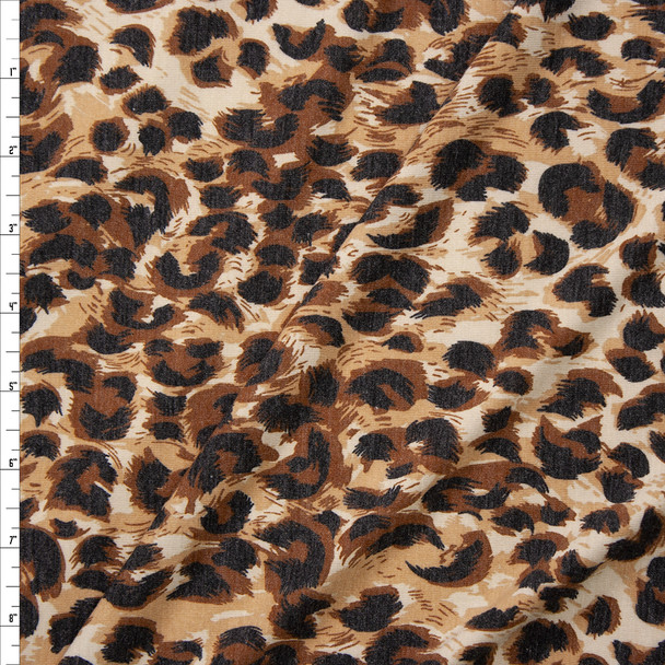 Tan and Brown Leopard Print Stretch Rayon Spandex Jersey Fabric By The Yard