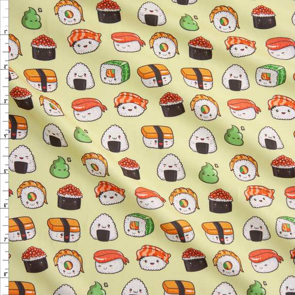 Smiling Sushi on Chartreuse Double Brushed Poly Spandex Knit Fabric By The Yard