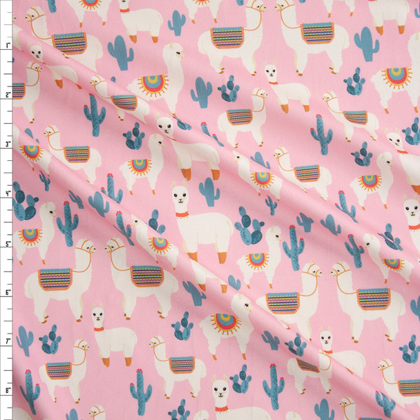 Llamas and Cacti on Pink Double Brushed Poly Spandex Knit Fabric By The Yard