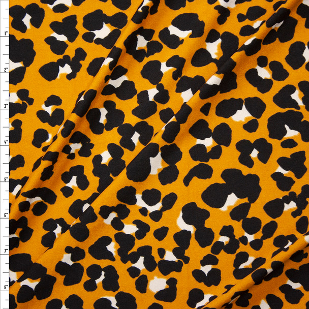 Dijon Blotch Leopard Double Brushed Poly Spandex Knit Fabric By The Yard