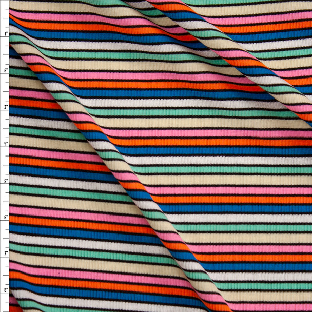 Pink, Orange, Teal, White, Mint, and Tan Banded Stripe Rib Knit Fabric By The Yard