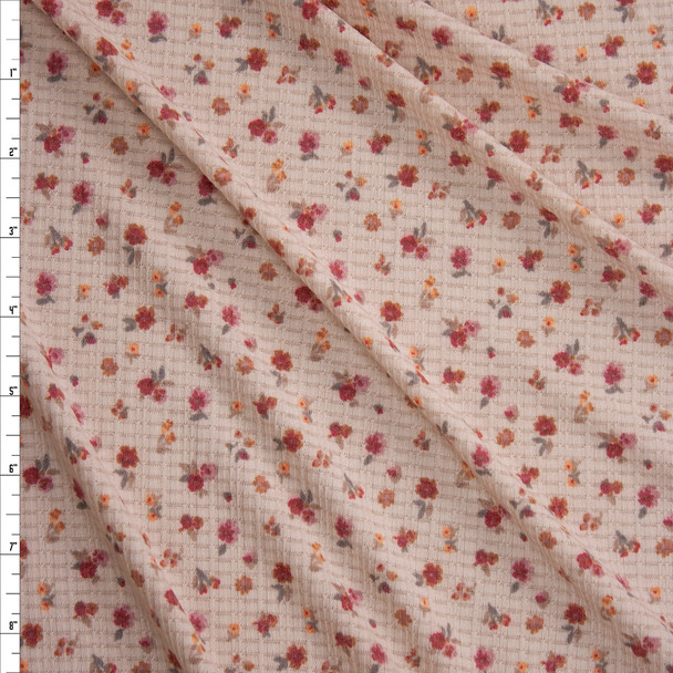 Small Magenta and Orange Floral on Cream Lightweight Waffle Knit Fabric By The Yard