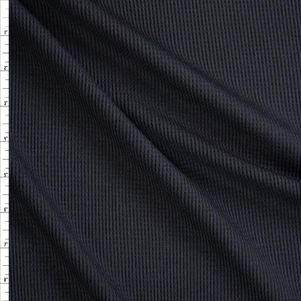 Black Lightweight Rayon Waffle Knit Fabric By The Yard