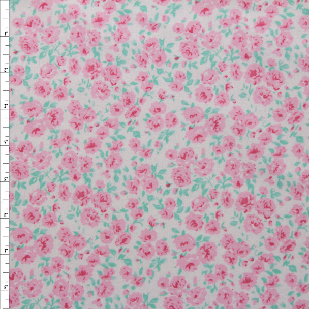 Light Pink and Seafoam Floral on Offwhite Double Nap Cotton Flannel Fabric By The Yard