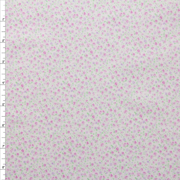 Pink and Lavender Mini Floral on White Double Nap Cotton Flannel Fabric By The Yard
