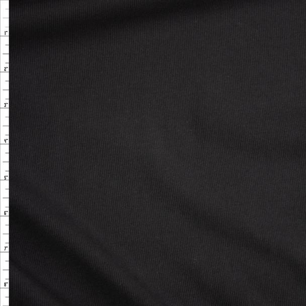 Black Tiny Rib Knit Fabric By The Yard