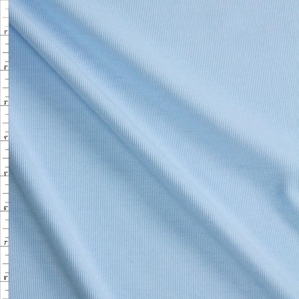 Light Blue Midweight Rayon Rib Knit Fabric By The Yard