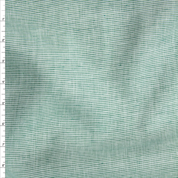 Seafoam and White Horizontal Stripe Lightweight Designer Linen Fabric By The Yard