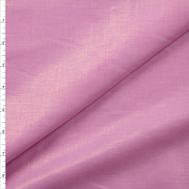 Sparkling Gold on Pink Designer Linen Fabric By The Yard