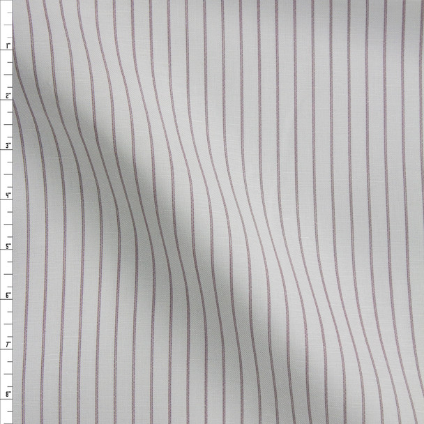 Wine on Silver Vertical Stripe Designer Linen Fabric By The Yard