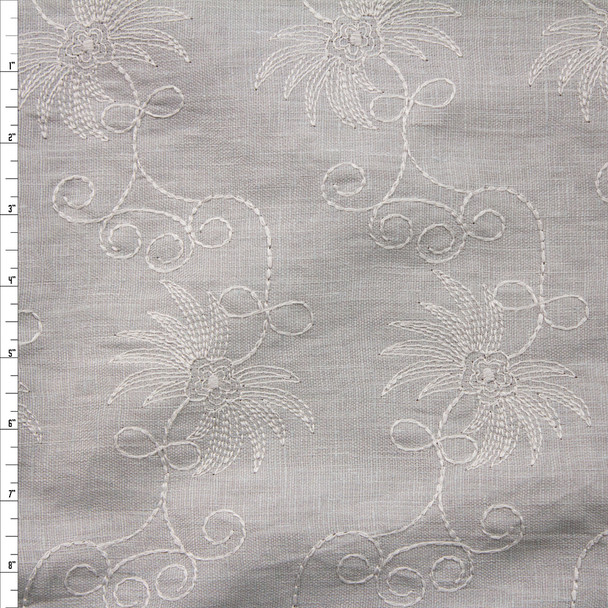 Grey on Grey Embroidered Floral Designer Linen Fabric By The Yard