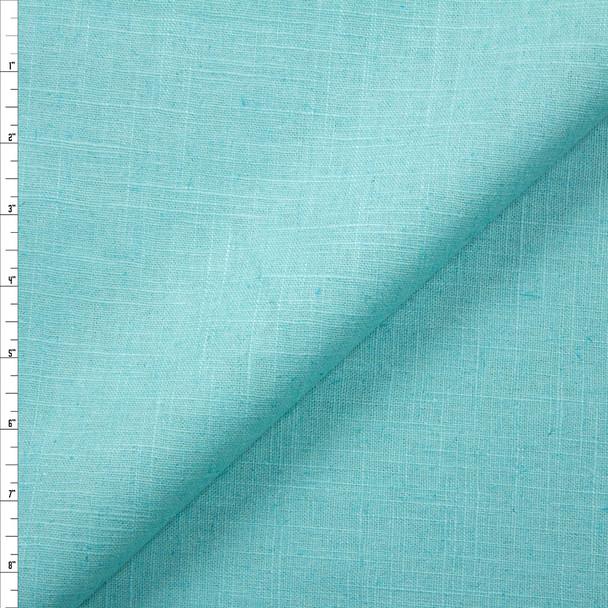 Bright Aqua Midweight Designer Linen Fabric By The Yard
