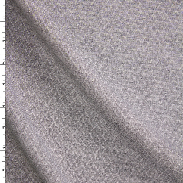 Grey Diamond Quilted Look Chambray Double Gauze Fabric By The Yard