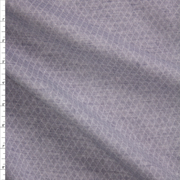 Blue Diamond Quilted Look Chambray Double Gauze Fabric By The Yard