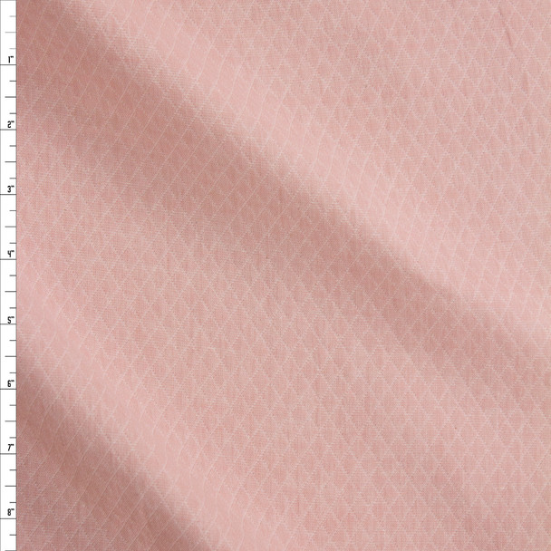 Pink Diamond Quilted Look Chambray Double Gauze Fabric By The Yard