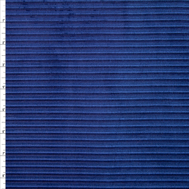 Royal and Navy Vertical Stripe Corduroy Fabric By The Yard