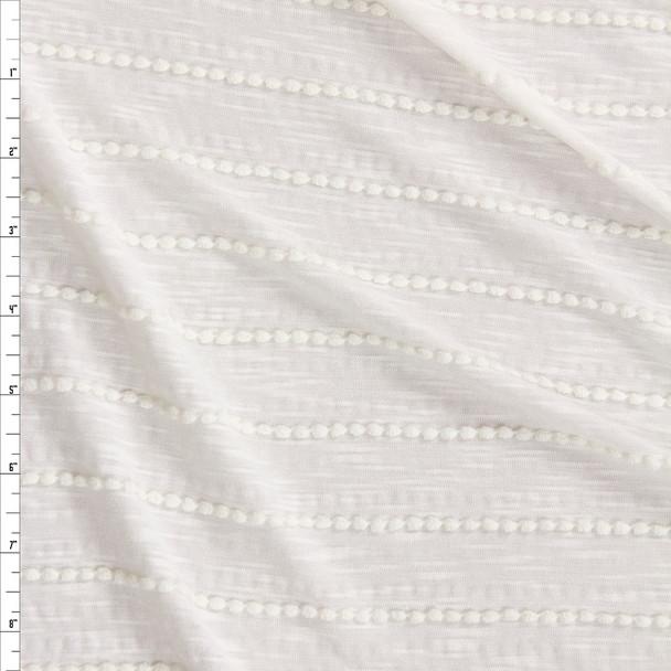 Warm White on Warm White Scalloped Mini Ruffle Jersey Knit Fabric By The Yard