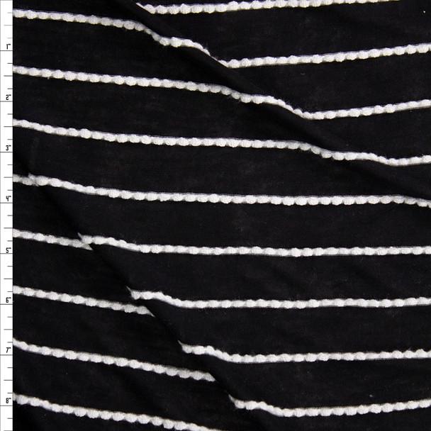 White on Black Scalloped Mini Ruffle Jersey Knit Fabric By The Yard