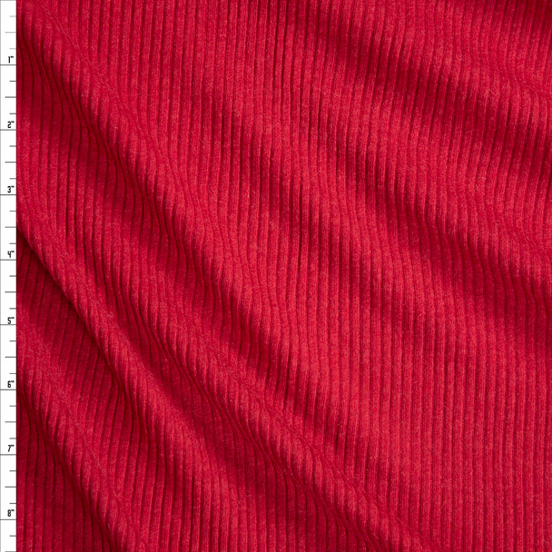 Red Soft Stretch Rib Knit Fabric By The Yard