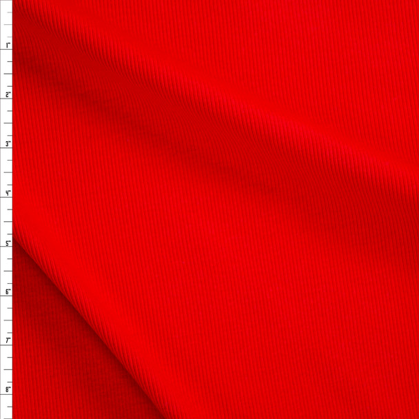 Bright Red Cotton Rib Knit Fabric By The Yard