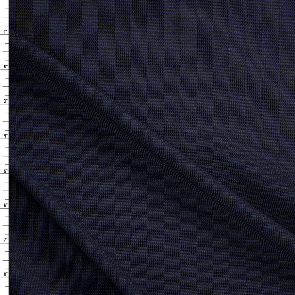 Navy Polyester Rib Knit Fabric By The Yard