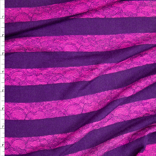 Purple and Hot Pink Horizontal Lace Stripe Lightweight Hacci Sweater Knit Fabric By The Yard