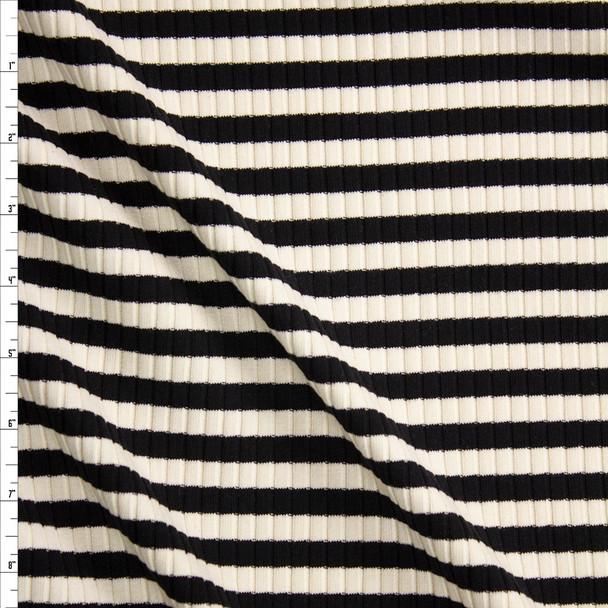 Black and Ivory Horizontal Stripe Rib Knit Fabric By The Yard