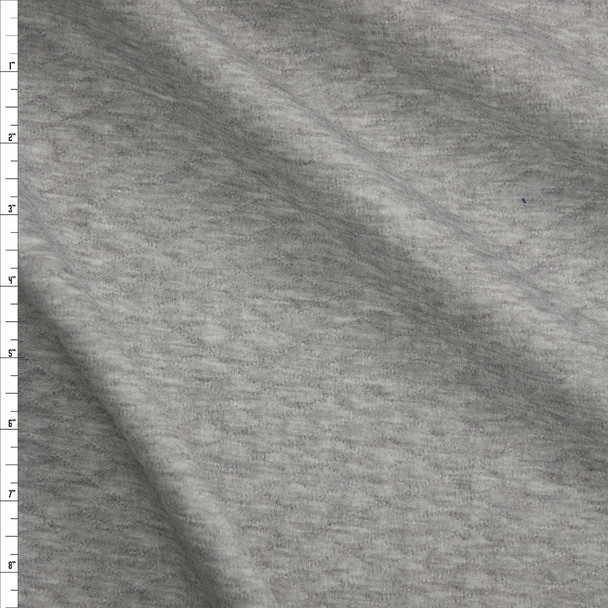 Heather Grey Diamond Quilted Texture Double Knit Fabric By The Yard