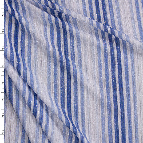 Sparkling Silver, Blue, and White Vertical Stripe Poly Rib Knit Fabric By The Yard