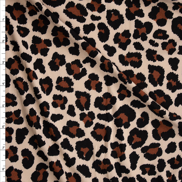 Classic Leopard Print Double Brushed Poly/Spandex Knit Fabric By The Yard