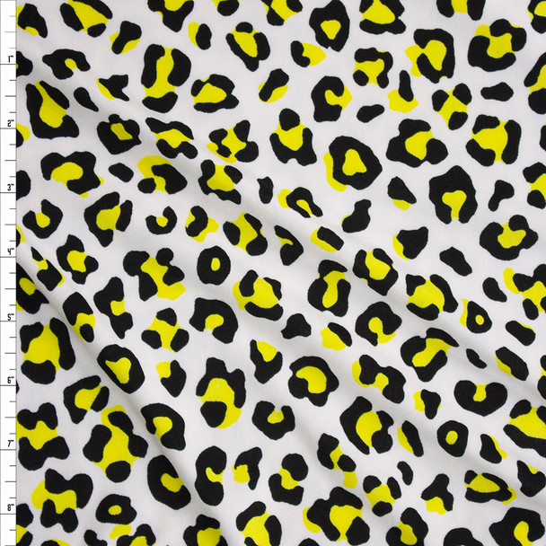 Neon Yellow and White Leopard Print Double Brushed Poly/Spandex Knit Fabric By The Yard