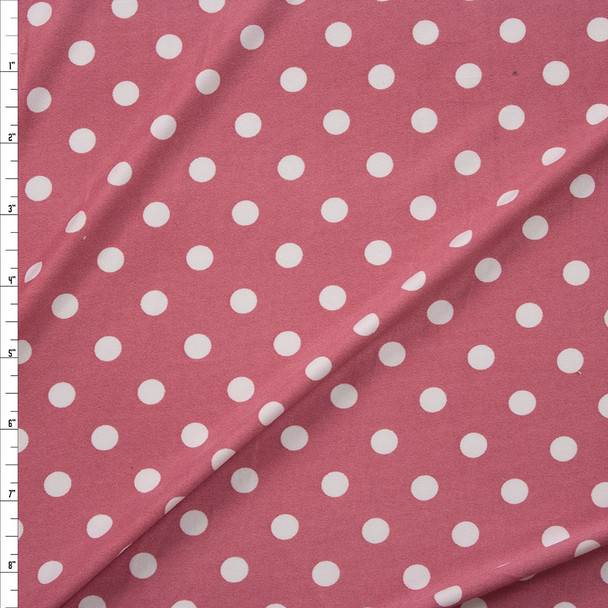 White on Mauve Polka Dots Double Brushed Poly/Spandex Knit Fabric By The Yard